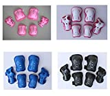 Eruner Children Protective Gear Cyling Scooter Knee Pads Inline Skating Elbow Pads Rollerblading Wrist Guards Sports Protectoer in  Black 6 Pcs