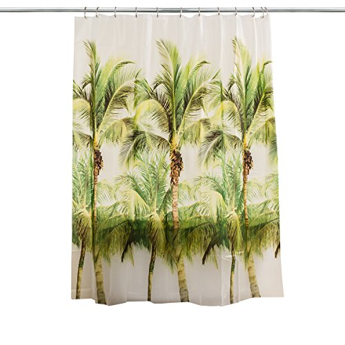 (Splash Home Peva  Palm Tree Shower Curtain Curtain Designed For Bathroom Showers and Bathtubs, Free of Pvc Chlorine and Chemical Smell-100% Waterproof, 70 x 72 Inch, Green)