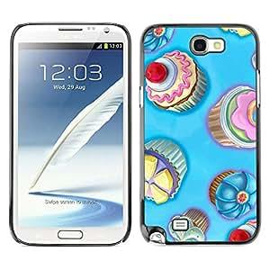Planetar® ( Cupcakes For Boys ) SAMSUNG Galaxy Note 2 II / N7100 Fundas Cover Cubre Hard Case Cover