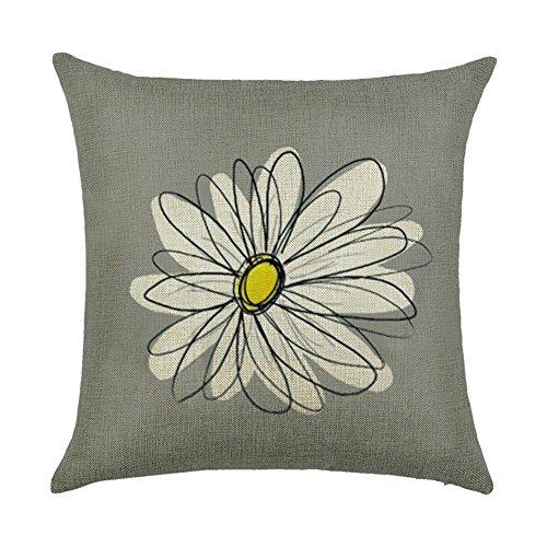 Kithomer White Daisy Flower Throw Pillow Covers Cotton Linen Sunflower Pillowcase Home Decorative Throw Pillow Cover Cushion Case 18