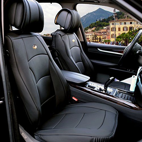 FH Group PU205SOLIDBLACK102 Solid Black Ultra Comfort Leatherette Front Seat Cushion (Airbag ()