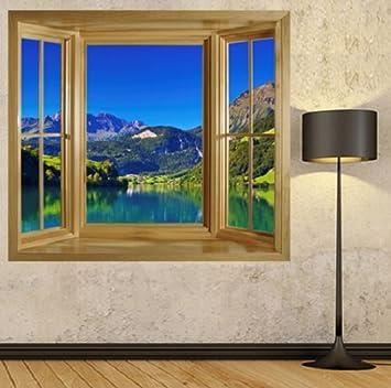 Fototapete fensterrahmen  wim197 - Sommer Berglandschaft mit See Fensterrahmen Tapete. Peel ...