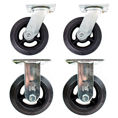 Set-of-4-RK-Heavy-Duty-Moldon-Rubber-on-Cast-Iron-Wheel-6-x-2-500-lbs-Capacity-2x-Swivel-2x-Rigid