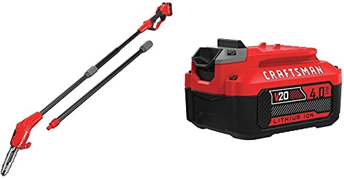 CRAFTSMAN V20 Pole Saw, 14-Foot with Extra Lithium Ion Battery, 4-Amp Hour CMCCSP20M1 CMCB204