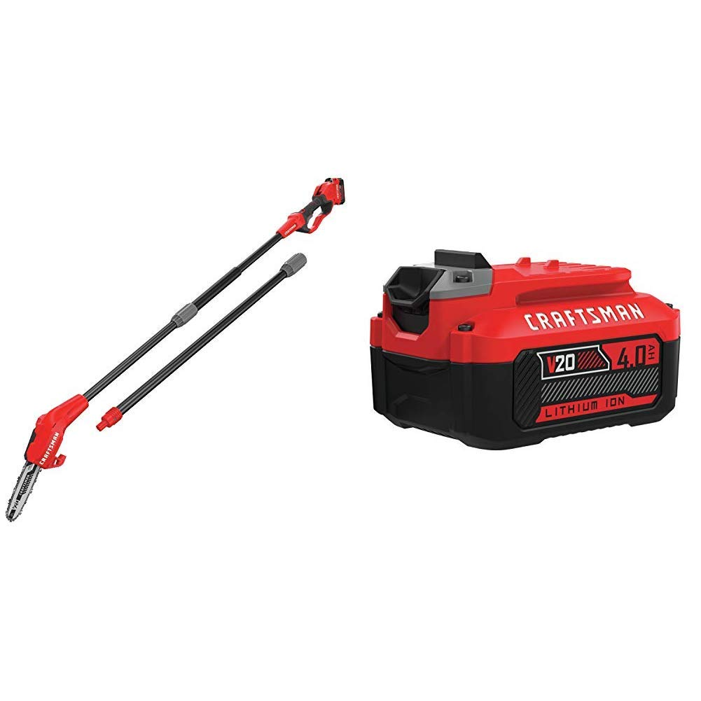 CRAFTSMAN CMCCSP20M1 20V MAX Pole Chainsaw with CMCB204 20V MAX 4.0AH LI-ION Battery