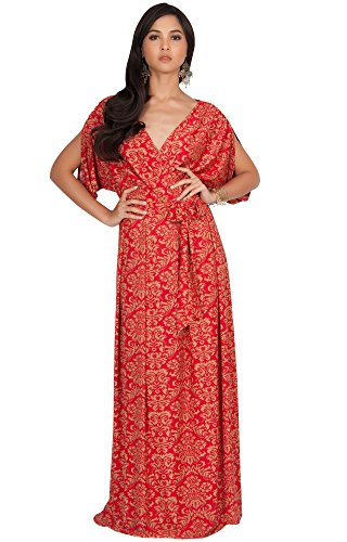 KOH KOH Womens Long V-Neck Short Sleeve Bohemian Print Flowy Cocktail Maxi Dress