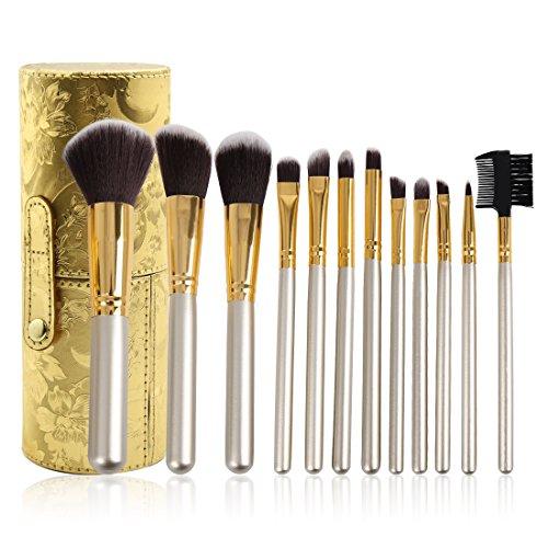 uxcell 12pcs Gold Tone Cylinder Pro Makeup Brush Tools Face