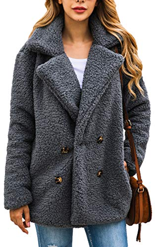 ECOWISH Womens Double Breasted Lapel Open Front Fleece Coat with Pockets Outwear Dark Gray L