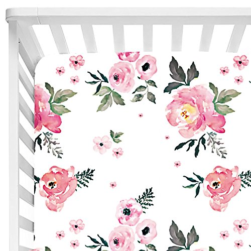 Sahaler Baby Floral Fitted Crib Sheet for Boy and Girl Toddler Bed Mattresses fits Standard Crib Mattress 28x52 (Pear Pink Floral)