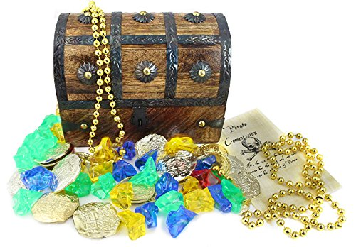 WellPackBox Wood Toy Large Treasure Chest Box Plastic Gold Coins Gems Jewels Necklace and Pirate - Box Toy Pirate