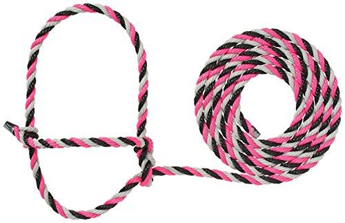 Pink Rope Halter - Weaver Leather Livestock Cattle Rope Halter, Pink/Black/Gray