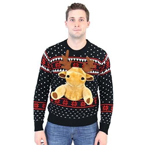 Black 3D Reindeer Moose Ugly Christmas Sweater (Adult - Christmas Moose Sweater