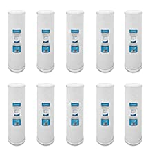 10 Pack Carbon CTO Big Blue Whole House Water Filter with Block Activated Carbon, 20-Inch Coconut