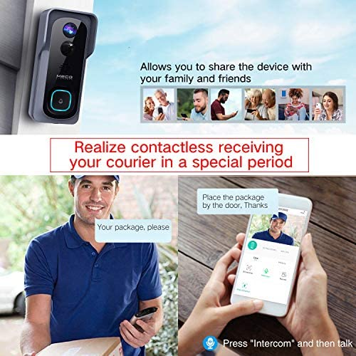 【32GB Preinstalled】WiFi Video Doorbell,MECO 1080P Doorbell Camera with Free Chime, Wireless Doorbell with Motion Detector, Night Vision, IP65 Waterproof, 166°Wide Angle, 2 Way Audio, 2.4GHz WiFi 51LC 3i8bwL