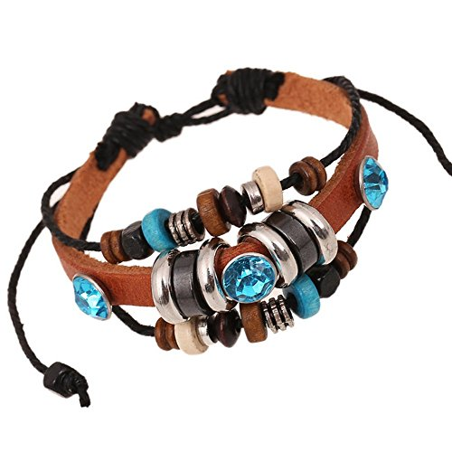 Lovers Lane Cat Costume - The Wrap Of Wood Beaded Brown Adjustable Leather Metal Bling Shine Bead Bracelet Blue