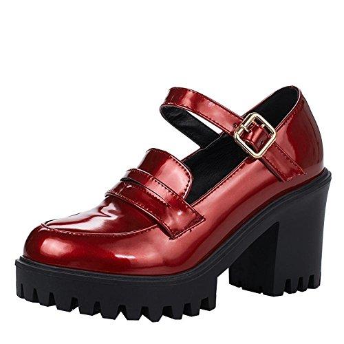 Carre Bordeaux Escarpins Platform A Talon Moyen Avec Jane Confortable Femmes 8 Cm Mary Uh Chaussures De qzUAAZx