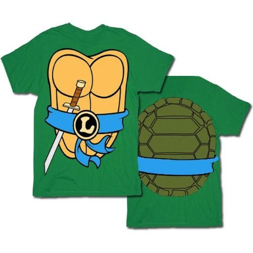 Blue Ninja Turtle Halloween Costume (Mighty Fine TMNT Teenage Mutant Ninja Turtles Leonardo Costume Green Adult T-shirt Tee (XXX-Large))