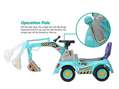 Blue Digger scooter, Ride-on excavator, Pulling cart, Pretend play construction truck by POCO DIVO by POCO DIVO (Image #2)