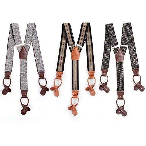 BMC 3pc Mens Clip Suspenders Heavy Duty Adjustable Elastic Set - Brown
