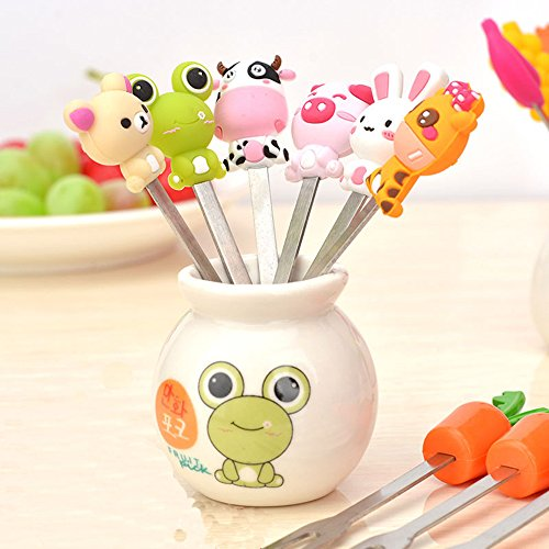 Fruit Fork, Cute Set of 6 Fruit Forks with Holder Stainless Steel Food Pick Forks for Kids Home (Mix Animal)