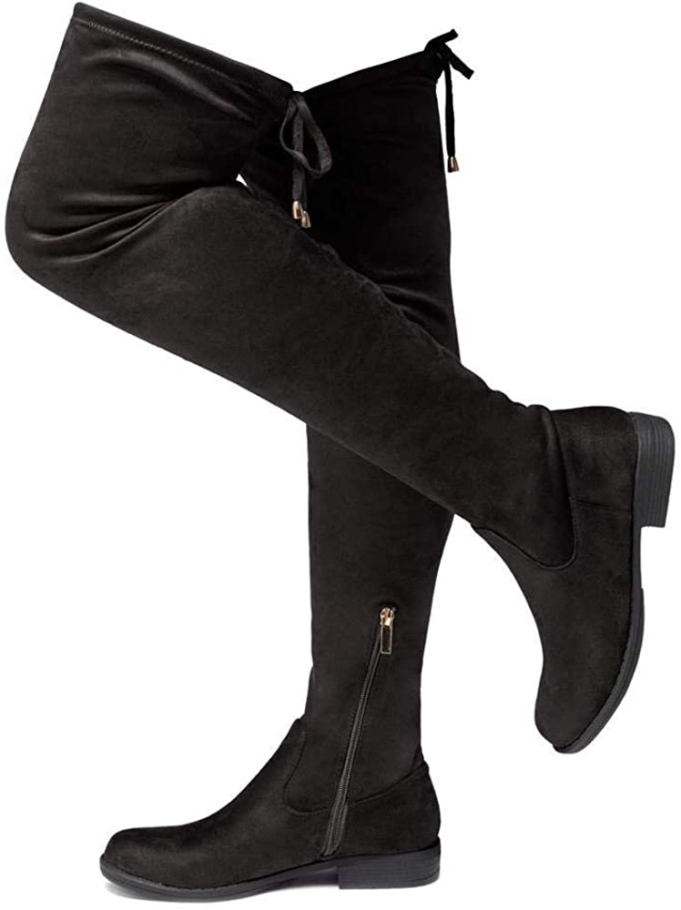 Block Heel Side Zipper Back Lace Over The Knee Casual Boots Herstyle Secret Obsession Women/'s Suede Thigh High Stretchy Boots