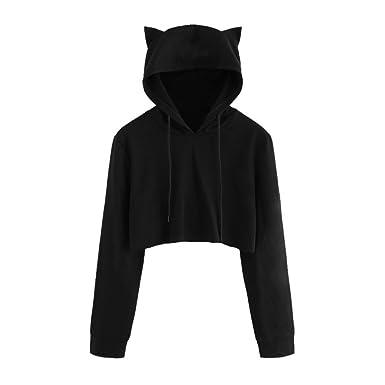 48d2cb5929a Fanteecy Women's Teen Girls Cute Cat Ear Hooded Sweatshirt Hoodies Crop Top  Casual Pullover (S