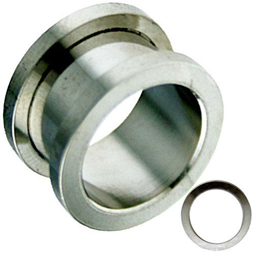 Screw on Surgical Steel Ear Tunnel / Ear Plugs Hypoallergenic Sold as Pair GA3S (1/2''=12MM)