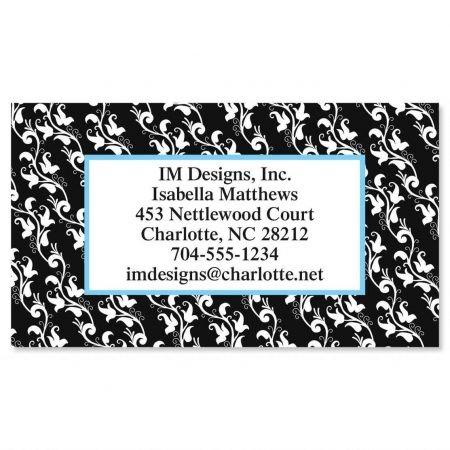 Black Elegance Business Cards - Set of 250 2'' x 3-1/2 custom business card design; 80# Cover Stock, Opaque, Matte
