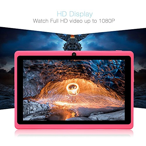 ZONKO 7 inch Tablet with WiFi, HD Display with Eye Protection Screen 8G, Android 8.1 Quad Core 1024x600 Dual Camera with Wi-Fi Bluetooth Tablet, Pink