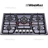 Windmax 30 in Black Titanium Stainless Steel 5 Burners Built-In Stoves NG LPG Cooktop Cooker