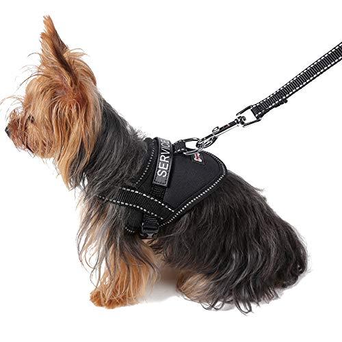 XDYFF Animal Doméstico del Arnés Refective Puppy Dog Service Arnés con Eslogan Perro Chaleco Arnés Collar,Black,L