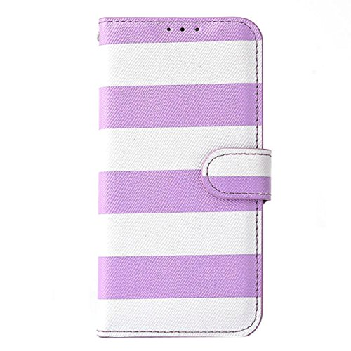 Aokdis (TM) Hot Selling Nice Cute Fashion Stripes Wallet Flip Leather Case Cover For iphone 6 Plus 5.5 Inch (purple)