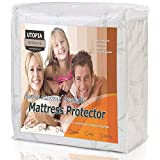 Waterproof Bamboo Mattress Protector - Hypoallergenic fitted Mattress Cover - Breathable Cool Flow Technology - Vinyl Free (Twin) - by Utopia Bedding