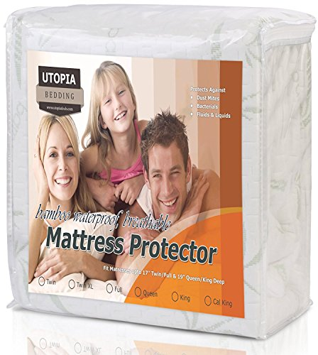 Waterproof Bamboo Mattress Protector - Hypoallergenic fitted Mattress Cover - Breathable Cool Flow Technology - Vinyl Free (Full) - by Utopia Bedding