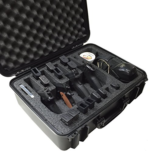 Case Club Waterproof 4 Pistol Case with Accessory Pocket & Silica Gel to Help Prevent Gun Rust (Four Pistol Case)