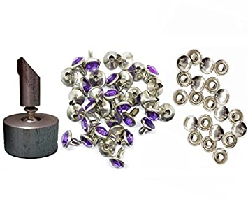 50 x 10mm Diamante Rivet Studs Coloured Acrylic Rhinestones Leather craft Fabric