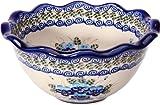 Polish Pottery Ceramika Boleslawiec,  0413/162, Bowl Fala Small, 5 3/4 Cups, Royal Blue Patterns with Blue Pansy Flower Motif
