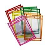 Mind Sparks Dry Erase Pockets (10 Piece), Neon, 9 x 12