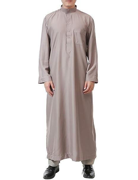 besbomig árabe Batas Musulmanes de los Hombres Dubai Islámico Ropa Arábica Vestidos - Suelto Mangas Largas Saudí Kaftan Casual Túnica: Amazon.es: Ropa y ...