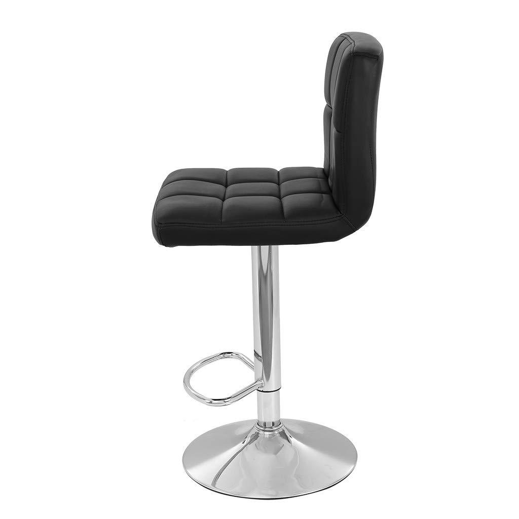 TADAMI Adjustable Bar Stools, Set of 2 Leather Bar Stools Counter Height Swivel Bar Stools Chair (Black) by TADAMI (Image #5)