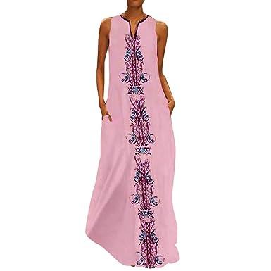 AIFGR Falda de señora Damas Vestido Maxi de Verano con Cuello en V ...