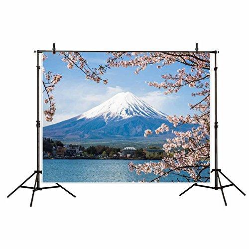 (Funnytree 7x5ft Mount Fuji Photography Winter Snow Sakura Flower Backdrop Outdoor Japan Nature Japanese Peak Asia Lake Style Spring Background Photograph Portrait Studio Photobooth Photoshoot)