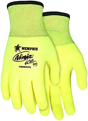 Memphis MCR Safety N9690HV Ninja Ice Hi-Vis 15 Gauge Lime nylon 3/4 HPT coated