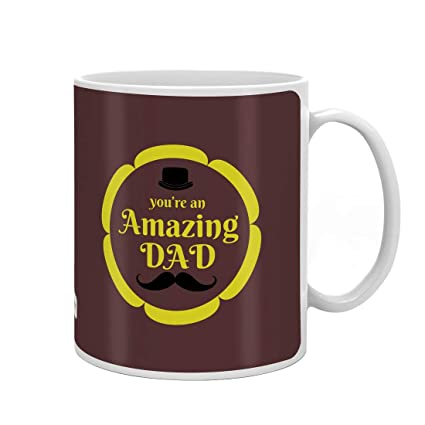 Indigifts Father Birthday Gifts Amazing Dad Quote Coffee Mug 330 Ml Brown