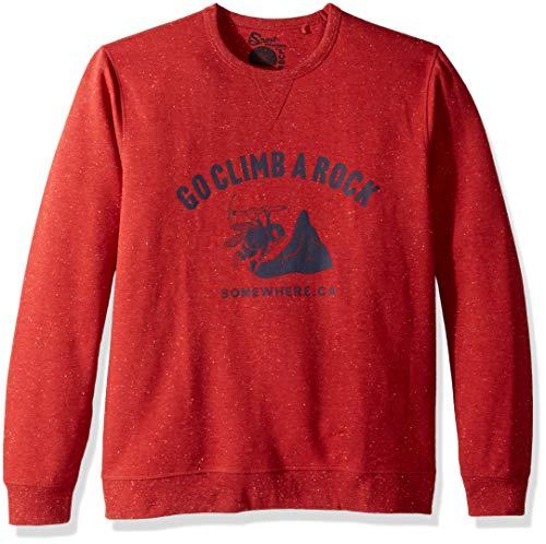 Lucky Brand Men's Casual Long Sleeve Crew Neck Graphic Sweatshirt, red M