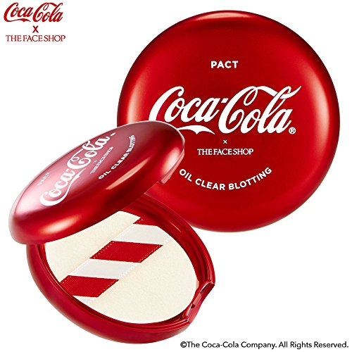 [THEFACESHOP] Finishing Powder, [Coca-Cola LIMITED EDITION] Matte Makeup Oil Clear Blotting Pact for Bright - Clear Complexion (9g / 1.80 oz) ()