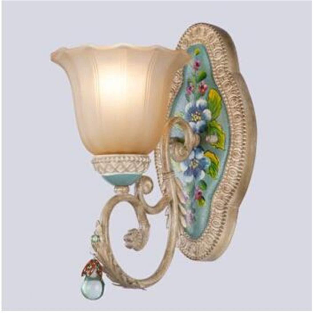 Intage Kronleuchter, Wohnzimmer Wandleuchten Antike Mittelmeer Schlafzimmer Schlafzimmer Nachtwandleuchten illage Kristallwand-Lampen-Gang-Wand Dual Head, Single Head