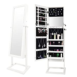 Bonnlo Jewelry Armoire Mirror with Lock & Keys, LEDs Feature, Freestanding, 4 Adjustable Angle, Cosmetic Storage.
