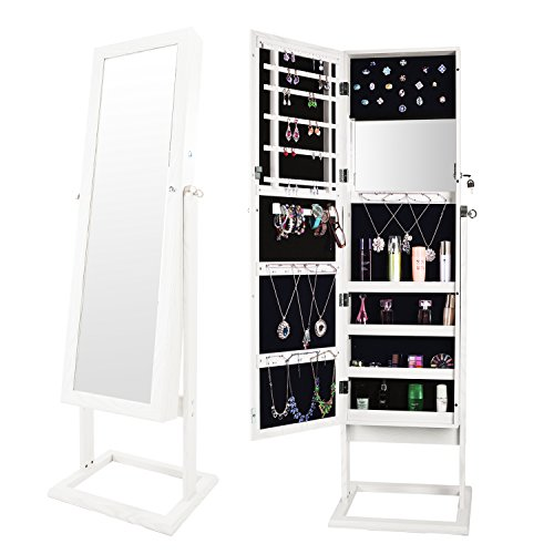 Bonnlo Cheval Jewelry Armoire Cabinet Stable Square Freestanding, 4 Adjustable Angle Tilting, Lockable Heavy Duty Bedroom Makeup Mirror Organizer Closet,Well Packed by styro-Foam&Stiffer Covering ()