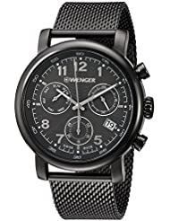 Wenger Mens Urban Classic Chrono Swiss Quartz Stainless Steel Casual Watch, Color:Grey (Model: 01.1043.108)